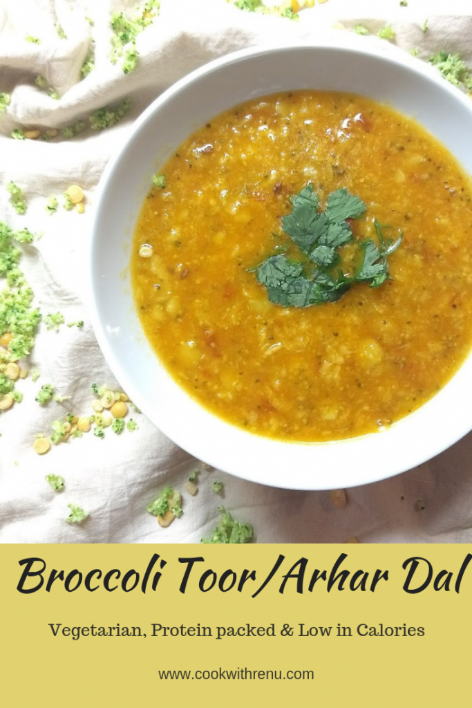 Broccoli Toor/Arhar Dal is a healthy and delicious lentil soup aka dal where Brocooli is sneaked in for fussy eaters
