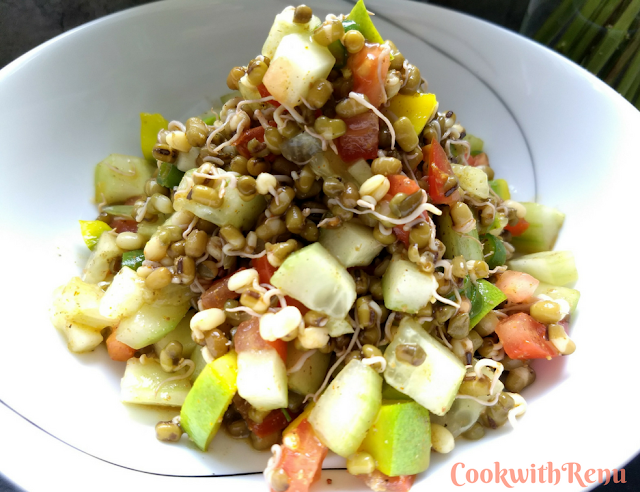 Indian Style Sprouted Mung Bean & Mango Salad