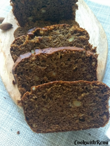 Egg-Less, Sugar-Less, Butter-Less Dates & Walnut Cake