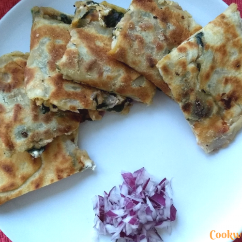 Gözleme (Turkish Flatbread with Potato, Spinach, Mint and Feta Cheese)