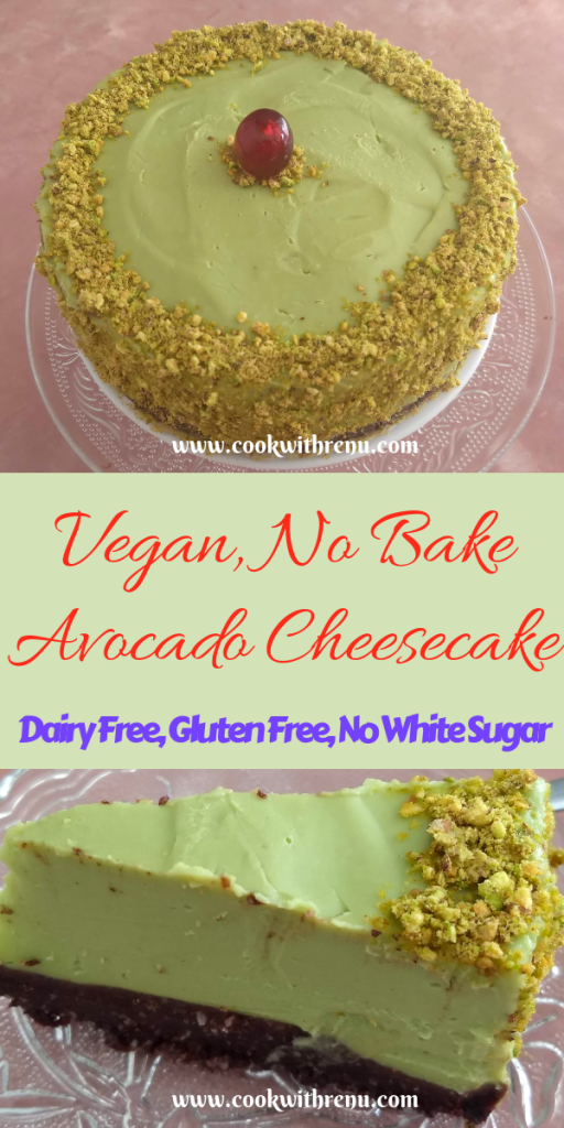 Vegan No Bake Avocado Cheese Cake