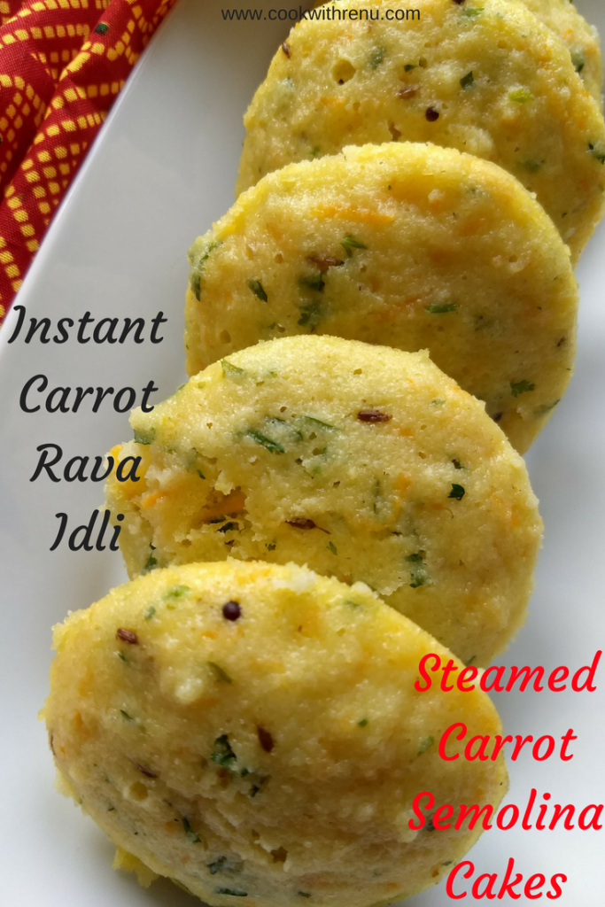 Instant Carrot Semolina (Rava) Idli