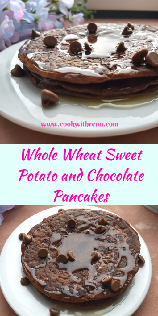 Whole Wheat Sweet Potato and Chocolate Pancakes