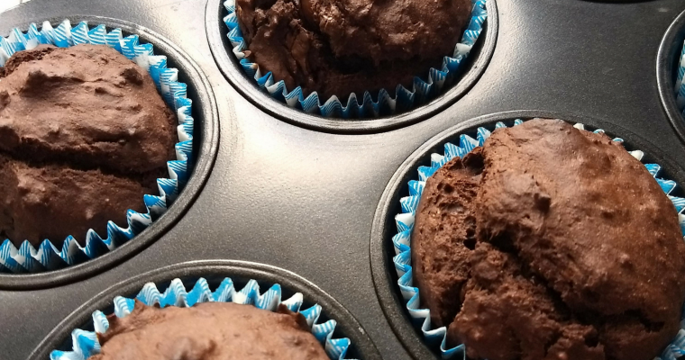 Whole Wheat Chocolate Avocado Banana Muffins
