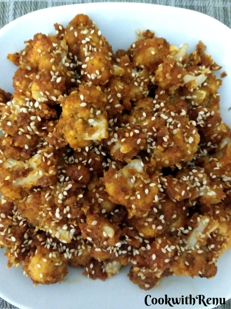 Baked Sticky Honey Sriracha Cauliflower Wings (Gluten Free)
