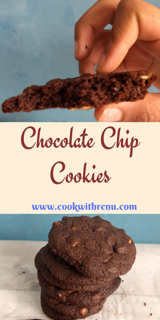 Chocolate Chip Cookies - This soft textured chocolate chip cookie has the richness of cocoa powder and the crunch of chocolates chips making a perfect treat for chocolate lover's.