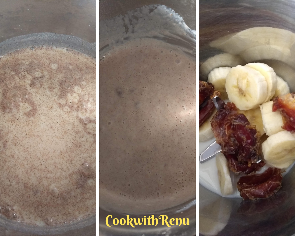 Ragi Banana and Dates Smoothie is a healthy, delicious and a filling start of the day with the goodness of gluten free Ragi flour, Banana and Dates.