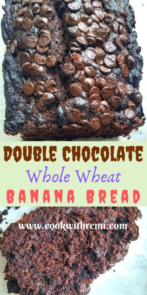 Double Chocolate Whole Wheat Banana Bread - This Double Chocolate whole Wheat Banana Bread is overloaded with chocolate flavours. It is super moist and light and a delicious chocolaty treat.
