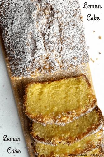 Lemon Cake (No Baking Powder, No Baking Soda) - This Lemon cake without any baking powder or baking soda (i.e. without leavening agent), is very light, spongy, lemony , sweet and Refreshing.