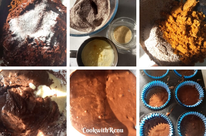 Eggless Whole Wheat Chocolate Cupcakes (With vegan Option)