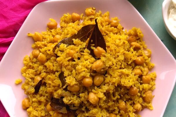 Brown Rice Chickpea Pulao