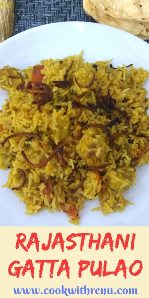 Rajasthani Gatta Pulao is a flavourful and delicious rice dish made on special occasions using gatta (gram flour/chickpea flour dumplings)