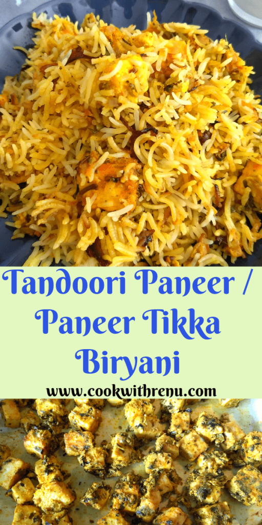 Tandoori Paneer Biryani | Paneer Tikka Biryani is a flavourful, aromatic and delicious Biryani perfect for parties. It is cooked with spices along with grilled and marinated paneer.