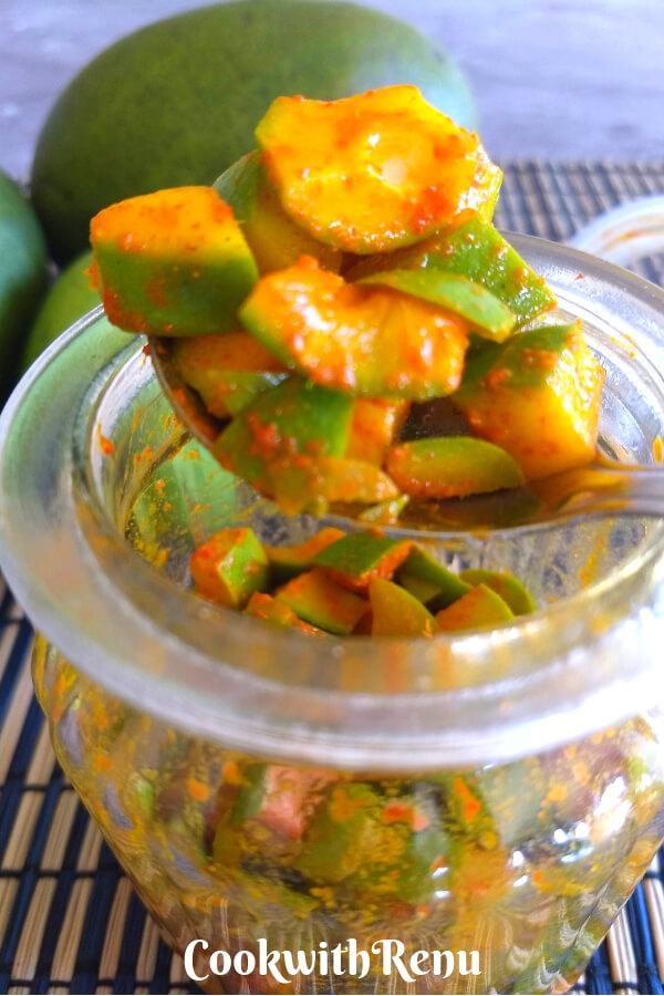 Instant Raw Mango Pickle without oil