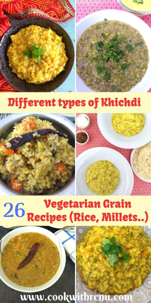 26 Vegetarian grain recipes feature many healthy one pot meals, pulao or Biryani's of which many are vegan, gluten free, kid and toddler friendly.