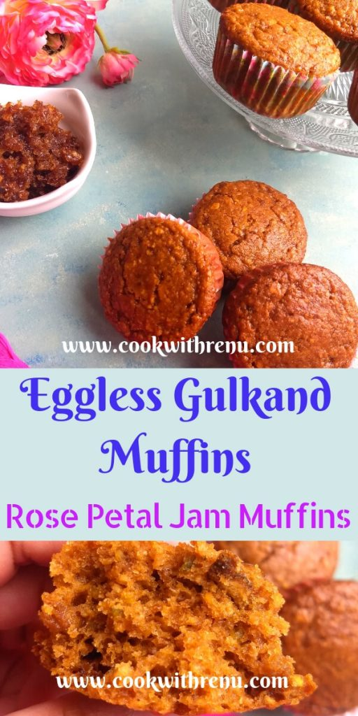 Eggless Gulkand Muffins | Edible Rose Petal Jam - Eggless Gulkand Muffins are flavourful, moist, nutty and delicious muffins bursting with flavours from Gulkand aka Edible Rose Petal Jam and Cardamom.