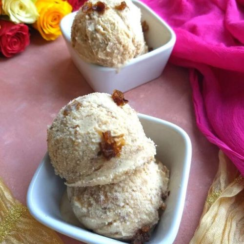 4 Ingredient Gulkand Ice Cream (Without Ice Cream maker)