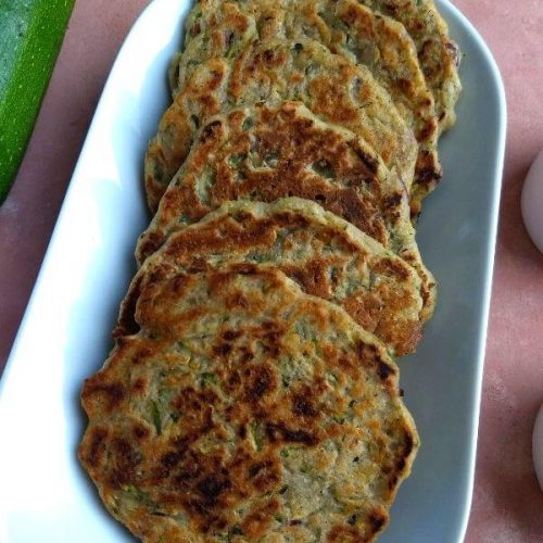 Zucchini / Courgette Fritters (Mini Pan Cakes) are healthy, low carb, gluten free and Vegan starter or a side which can be made in as quickly as 10 minutes.