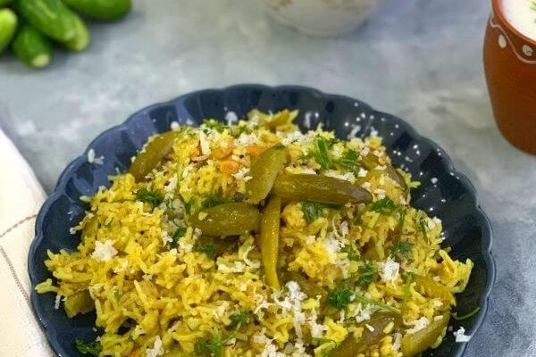 Maharashtrian Tendli Bhaat | Ivy Gourd Rice (No Onion No Garlic)