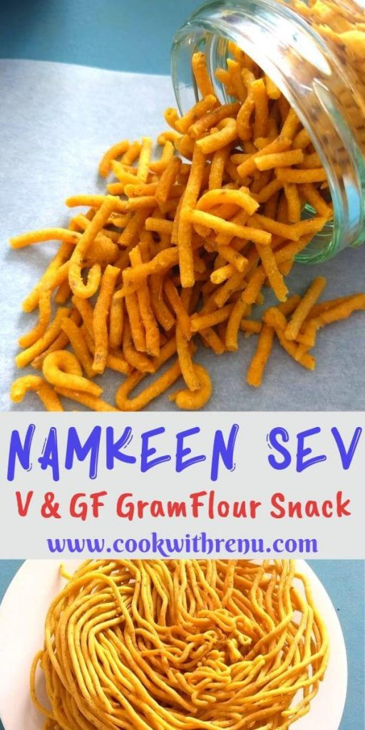 Besan ke Namkeen Sev is a gluten free fried tea time snack generally made during Diwali celebrations in India. Highly addictive and goes well on chaats too.