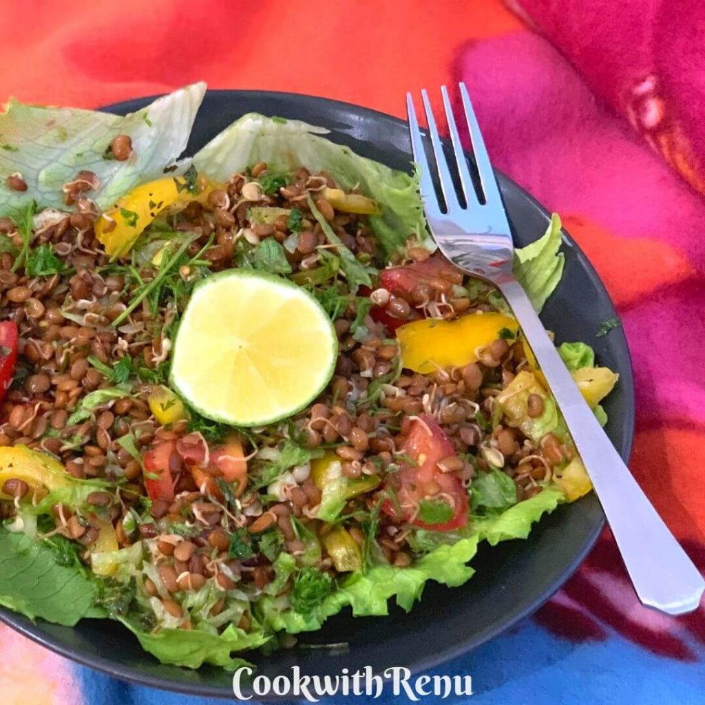 Sprouted Horse gram (Kulith) Salad along with veggies is a nutritious Iron, protein and calcium rich filling salad that can be served as a main meal.