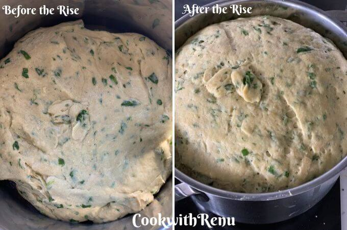 The dough before and after the rise