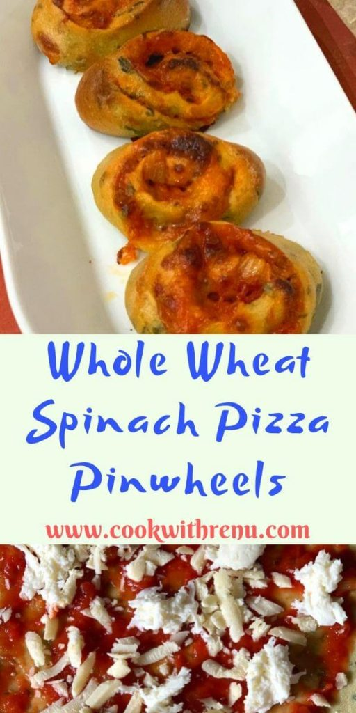 Whole Wheat Spinach Pizza Pinwheels is a quick, easy, freezer , kid and toddler friendly recipe with the goodness of spinach loaded into a pizza dough.