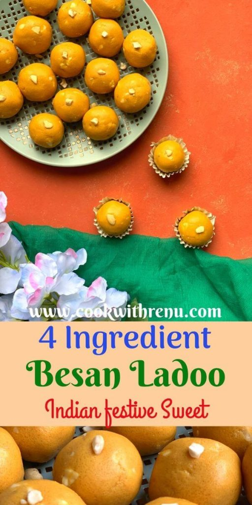 Besan Ladoo is a popular Indian sweet dish made using gluten free gram flour, sugar and ghee. This is my mom's foolproof recipe followed for years.