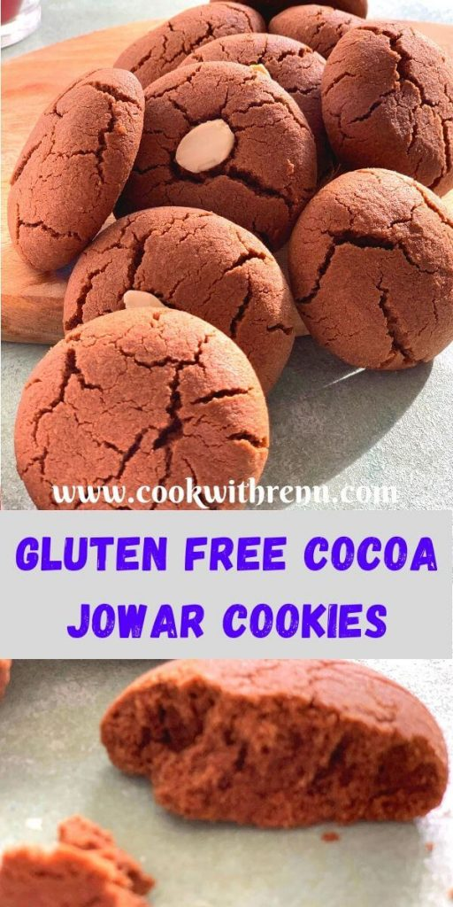 Eggless Jowar Chocolate Cookies have the melt in the mouth texture, bursting with chocolate flavour and made using Gluten free Jowar (Sorghum) Flour.