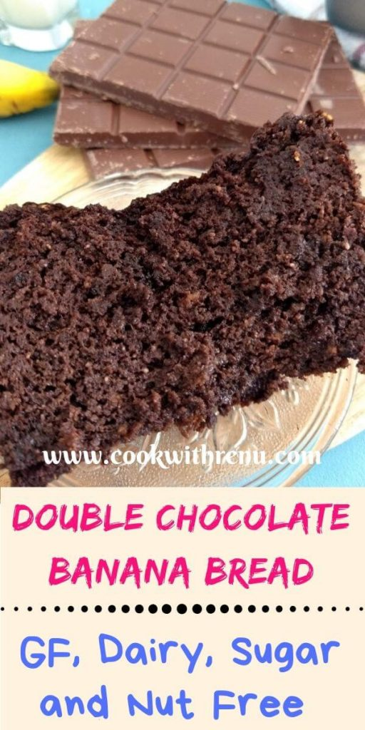 This Gluten Free Double Chocolate Banana Bread is loaded with chocolate and is gluten free, dairy free, nut free and sugar free