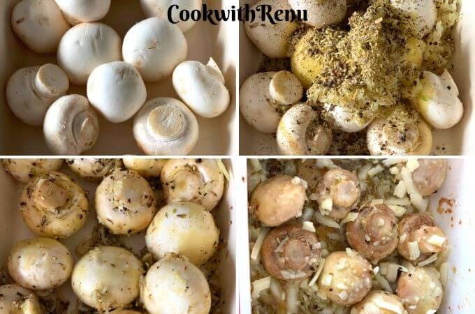 Making of Roasted Garlic and Herb Mushrooms