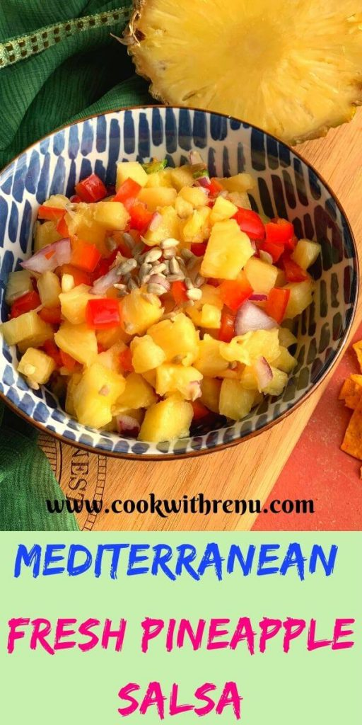 Mediterranean Fresh Pineapple Salsa is a simple and quick salsa made from fresh ingredients like Pineapple, Pepper, Onion and lemon.