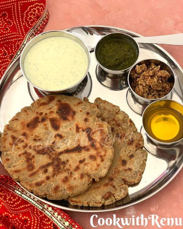 A simple Every day gluten free Thali using, Bajra Paratha