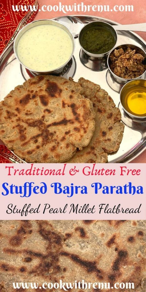 Stuffed Bajra Paratha aka Stuffed Pearl Millet Flatbread is a winter special, gluten free flatbread made using Bajra Flour and stuffed with potato.