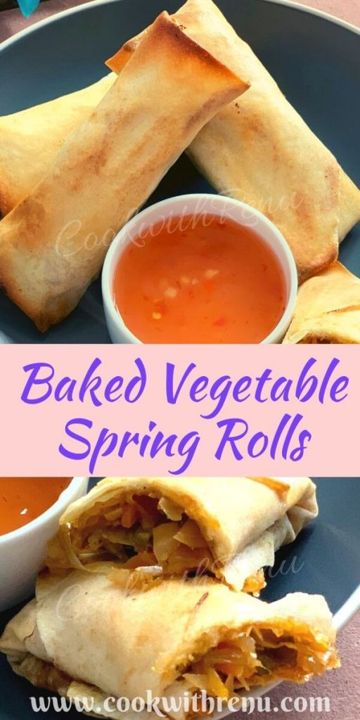 Baked Vegetable Spring Rolls is delicious, crunchy, and flaky party appetizer stuffed with stir fried veggies and baked to perfection.