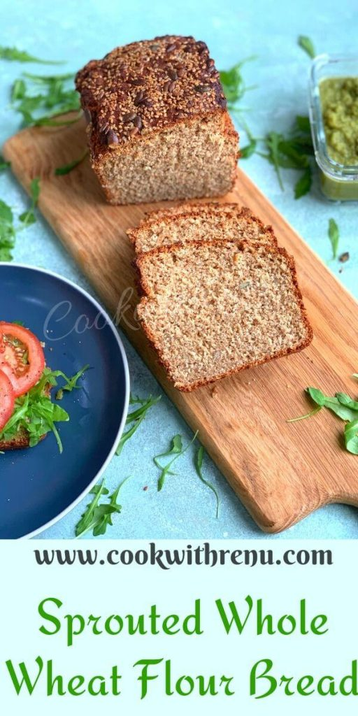 Sprouted Wheat Flour No Knead Bread is an easy peasy healthy bread, without any yeast and egg and can be assembled in 10 minutes.