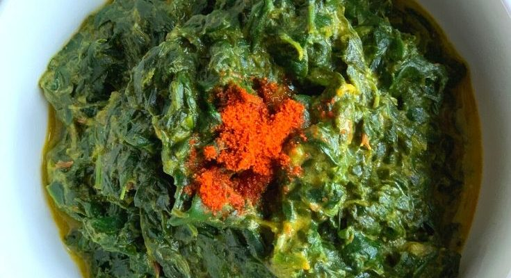 Palak ka kaapa – Spinach gravy from Uttarakhand, India