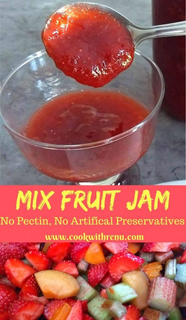 Homemade Mix Fruit Jam is a delicious and yummy one pot Jam recipe using seasonal fruits and free from preservatives or pectin.