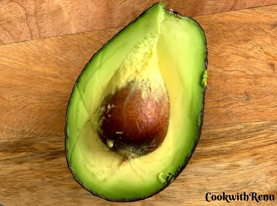 Half Cut Avocado with the seed