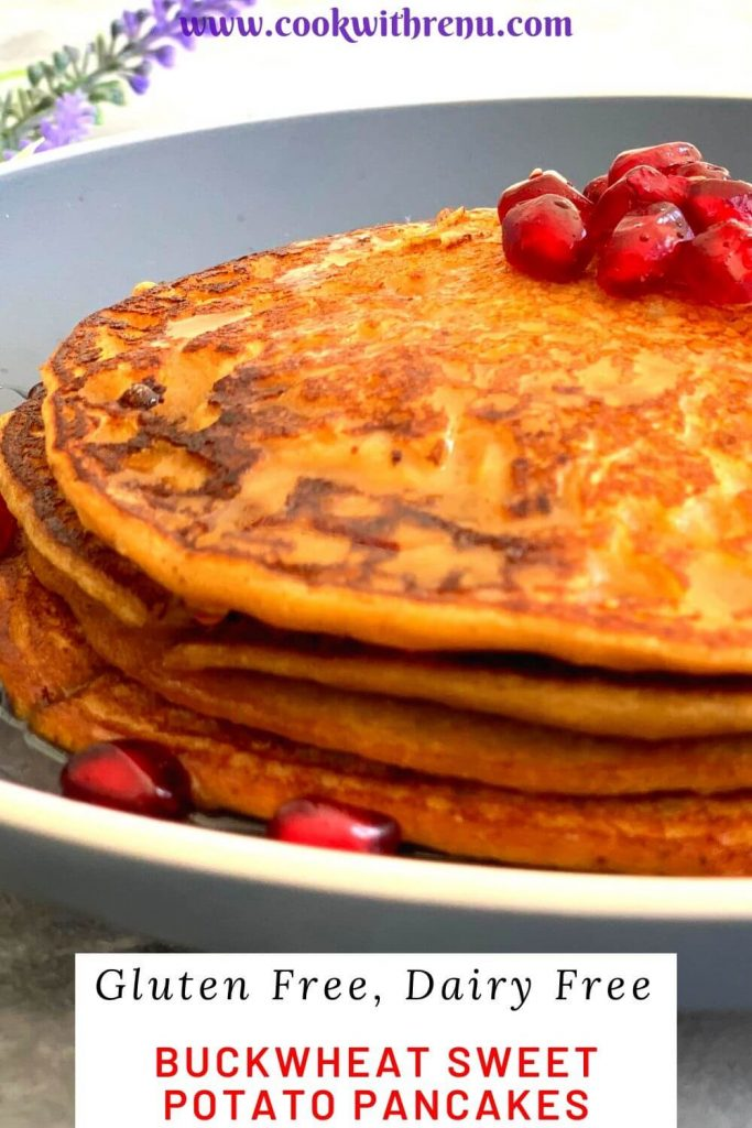 Buckwheat Sweet Potato Pancakes are 4 ingredients Gluten free pancakes made without any leavening agent and are perfect for breakfast or lunch.