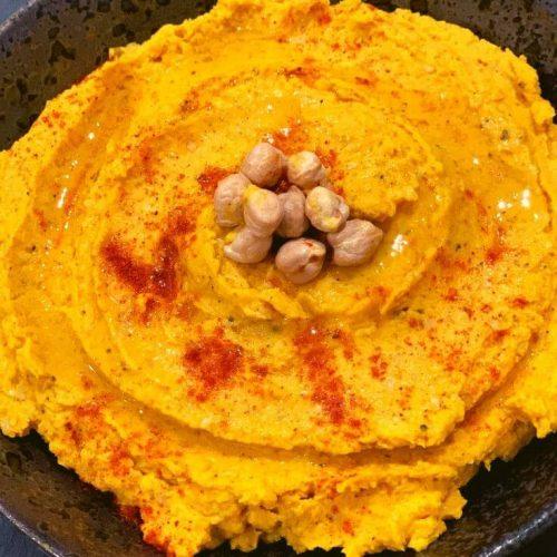 Close up look of Easy Golden Turmeric Hummus