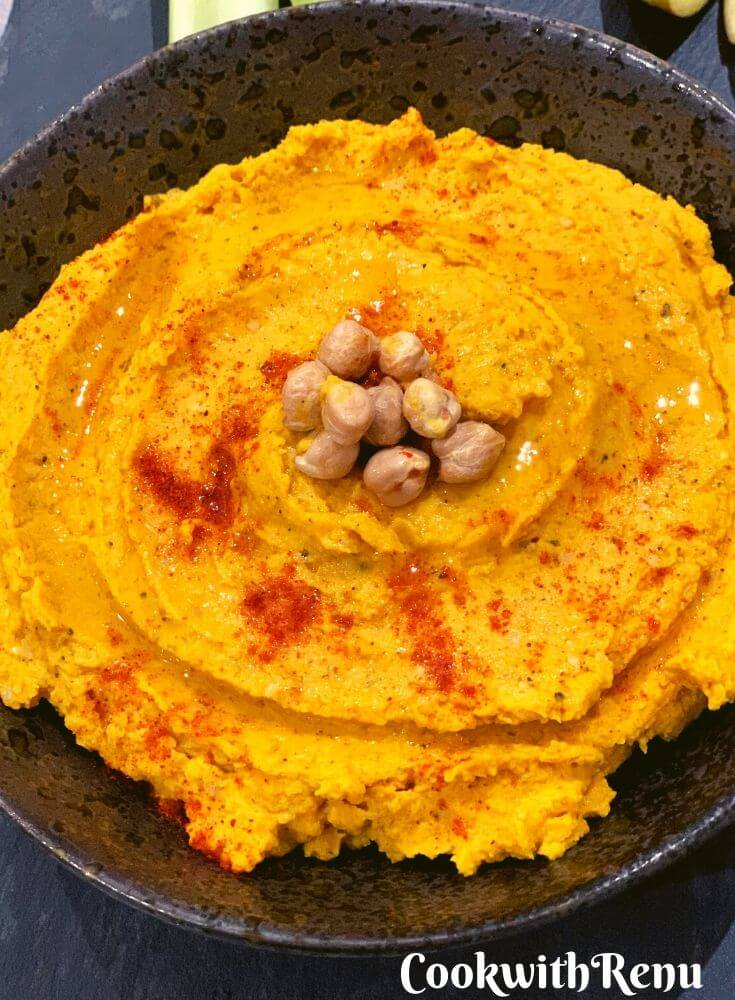 Close up look of Easy Golden Turmeric Hummus