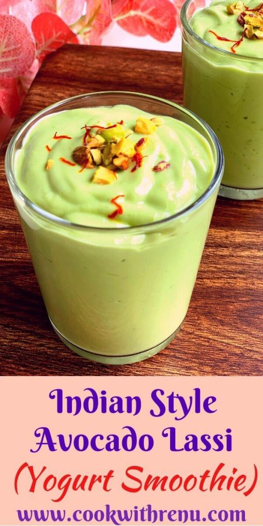 Indian Style Avocado Lassi or Avocado Yogurt Smoothie is a creamy and thick 4 ingredient lassi made using thick yogurt. It is a perfect breakfast smoothie or a meal in itself.