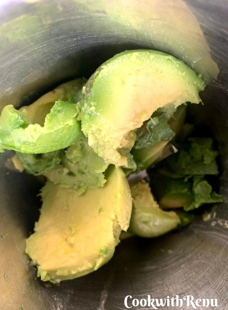 De-Seeded and cut Avocado added in blender