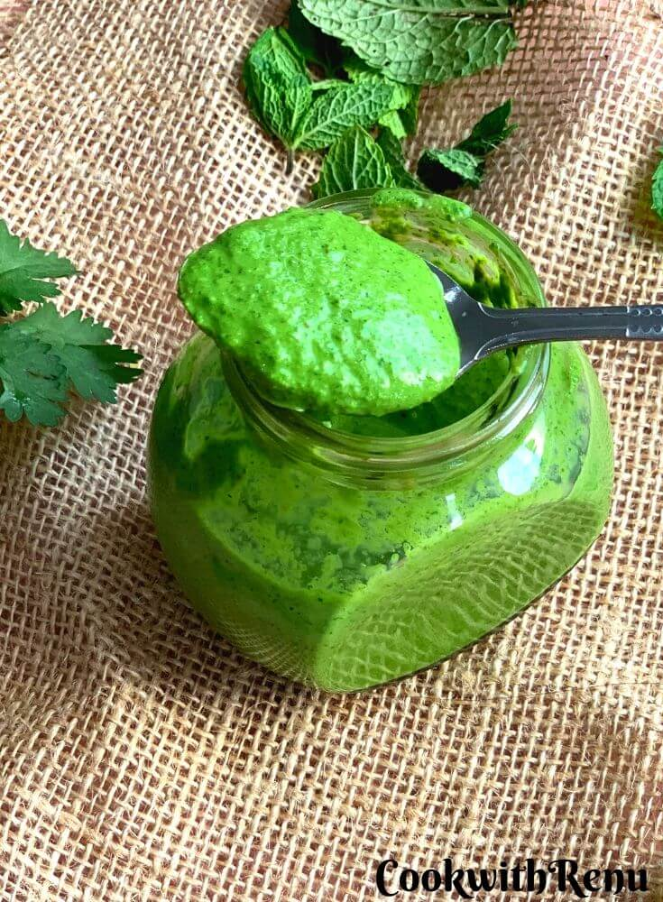 Mint Yogurt Chutney or Pudina dahi chutney is a refreshing and a quick chutney made using garden fresh organic mint and yogurt. This chutney goes well with kababs, tikkas, chaats as well as spreads on sandwiches and parathas. One of the must have condiments especially during parties and gatherings.