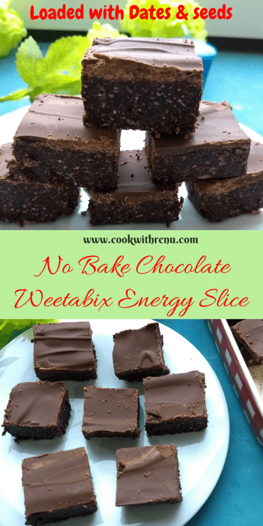 No Bake Chocolate Weetabix Energy Slice is a perfect mid evening or after workout snack loaded with the goodness of Dates and Dark Chocolate.