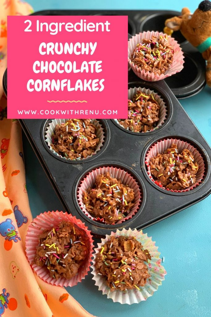 Crunchy Chocolate Cornflakes or Chocolate Cornflakes Cakes is a quick and easy 2 ingredient recipe which can be made and enjoyed by kids and adults.