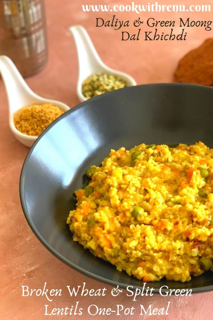 Daliya and Split Green Moong Dal khichdi is an easy, quick and healthy one-pot meal that can be made in a jiffy. It is a filling and protein-rich one-pot meal that can be enjoyed by babies, toddlers, kids and adults.