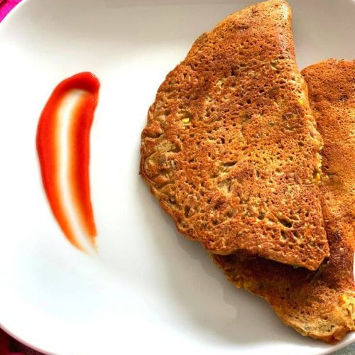 Leftover Dal Pancakes served with tomato ketchup
