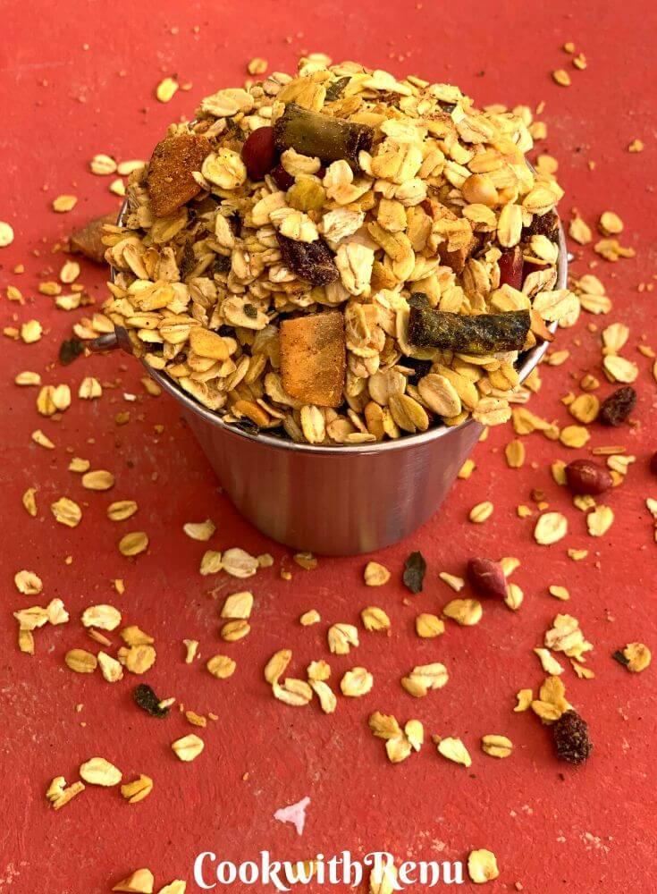 Spicy Oats Trail Mix presented in a small balti/bucket